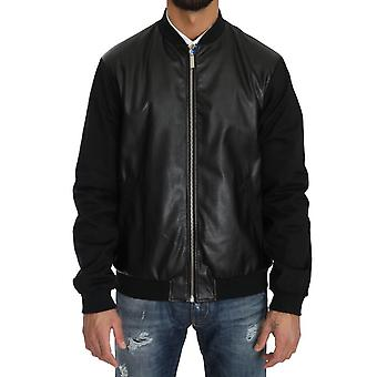 Black Cotton Stretch Bomber Zipper Jacket -- JKT2780912