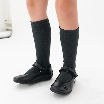 Hush Puppies Clare Jnr Girls Leather School Shoes Black