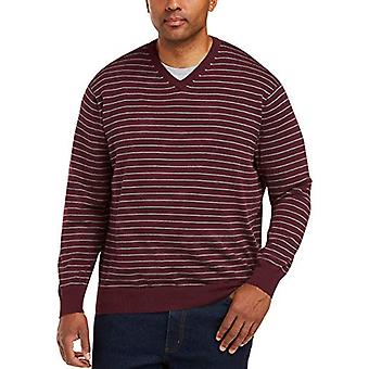 Essentials Men's V-Neck Stripe Tröja, Bourgogne/Grå ljung, 3XLT