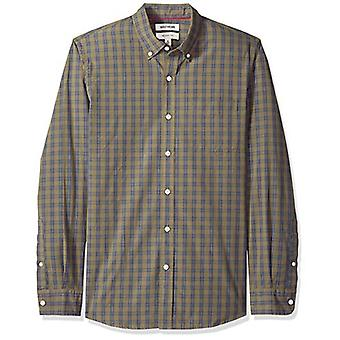Goodthreads Men's Slim-Fit Long-Sleeve Plaid Poplin Shirt, -olive check, Large