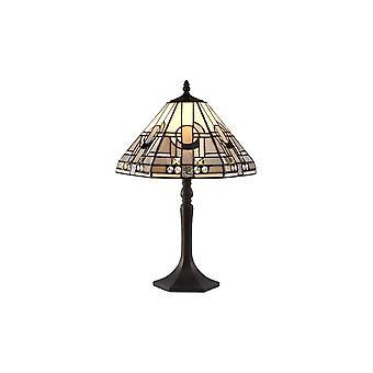 Éclairage Luminosa - 1 lampe de table octogonale légère E27 avec 30cm Tiffany Shade, Blanc, Gris, Noir, Cristal clair, Laiton Antique Vieilli