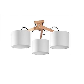 Sollux LEGNO - 3 Licht Flush Plafond licht natuurlijk hout, wit
