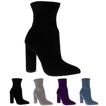 Womens sok passen puntige Teen Fashion chique jurk blok hak enkellaars UK 3-10