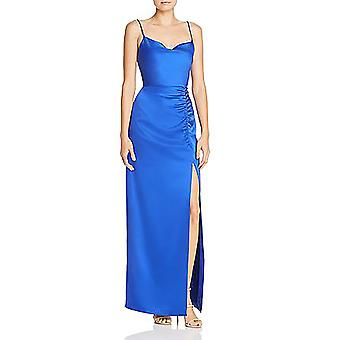 Laundry by Shelli Segal   Satin Drape-Neck Ruched Evening Dress