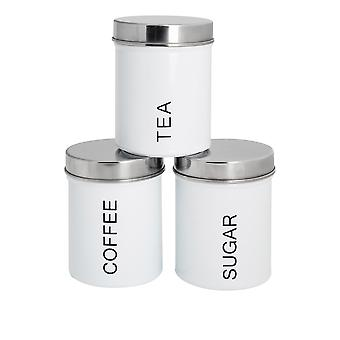 3 Peça Contemporary Tea Coffee Coffee Sugar Canister Set - Aço Kitchen Storage Caddy with Rubber Seal - White