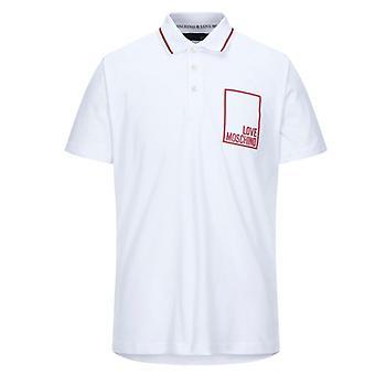 Love Moschino Box Logo camiseta polo blanca