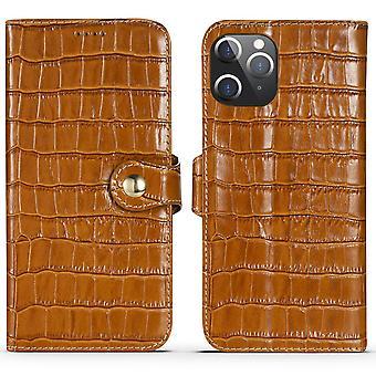 עבור iPhone 12 Pro מקס מקרה עור אמיתי תנין מרקם ארנק כיסוי חום