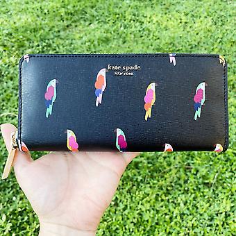Kate spade sylvia flock party bird slim continental zip around wallet black