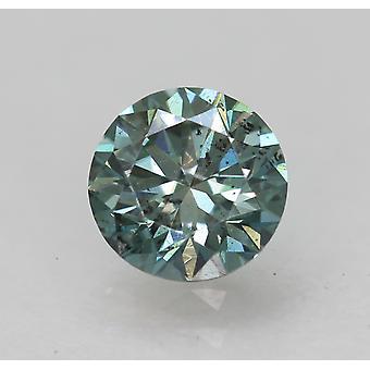 Cert 0.54 Carat Vivid Blue VS2 Round Brilliant Enhanced Natural Diamond 5.17mm