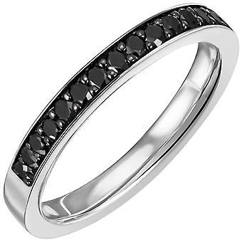 Naisten sormus 585 kulta valkoinen kulta 17 musta timanttia loistava