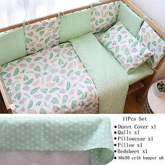 Baby ágynemű szett újszülöttek, puha pamut kiságy ágynemű szett lökhárítóval