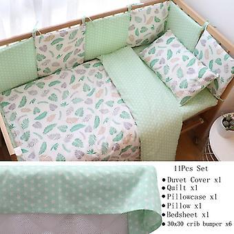 Baby Bedding Set For Newborns, Soft Cotton Crib Bedding Set With Bumper
