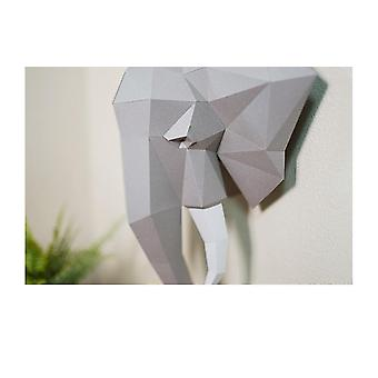 3d Paper Model, Hand Made Elephant Wall Papercraft