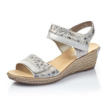 Rieker 62470-91 Helga Low Wedge klittenband Vastmaken Sandalen In Metallic