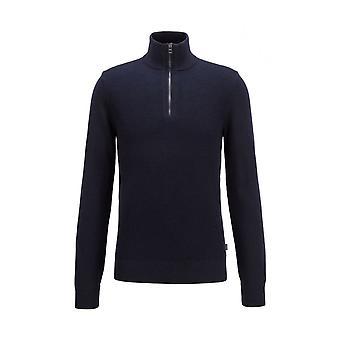 Hugo Boss Madan Vohveli neuloa säännöllinen fit quarter zip laivaston pusero