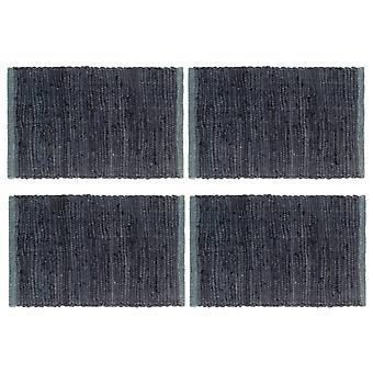 vidaXL placemats 4 pcs. Chindi Uni anthracite 30 x 45 cm cotton