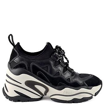 Ash Footwear Bird Wedge Leather Trainers Black
