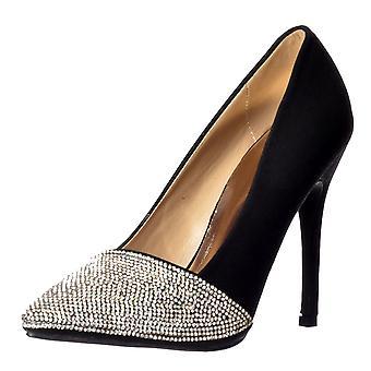 Onlineshoe Diamante Encrusted zapatos de fiesta de tacón medio de la puntera