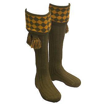 Walker and Hawkes - Mens Shooting Chessboard Socks & Matching Garter Ties