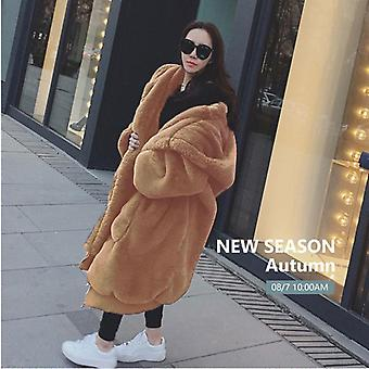 Oversized Winter Faux Fur Coat Women Parka Long Warm Jacket Hoodies Loose