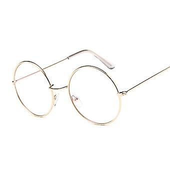 Round Glasses Clear Lens, Gold Metal Frame, Optical Eyeglass