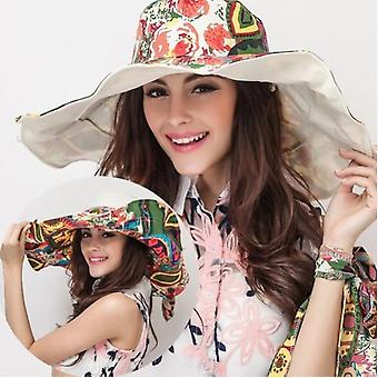 Fashion Design Flower Big Foldable Brimmed Summer Sun Hats