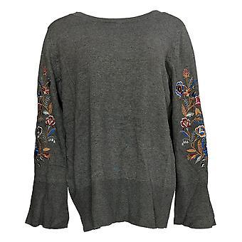 Belle af Kim Gravel Kvinder's Sweater Broderet Bell Sleeve Gray A343351