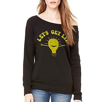 Humor Let's Get Lit Women's Black Sweatshirt