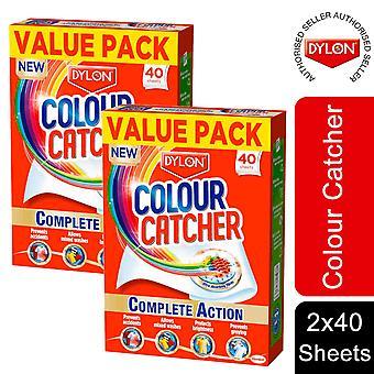 2 Pack Dylon Colour Catcher Complete Action Laundry Sheets, 40 Sheets