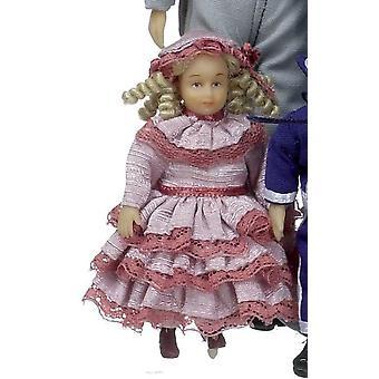 Nukkekoti Viktoriaaninen pieni tyttö Anna Clark Miniatyyri iloinen tapaaminen ihmiset