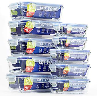 CREST 10 Pack Glass Food Storage Containers Set, Airtight Locking Lids