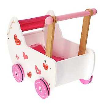 Drevený bábikový vozeň - ružové srdcia - 42x27x48 cm