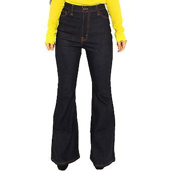 High Waist Flared Jeans - Dark Blue, Indigo