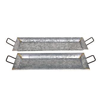 Bandejas galvanizadas rectangulares en forma de metal, conjunto de 2, plata