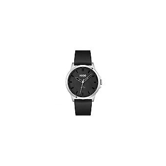 HUGO 1530188 First Silver & Black Leather Men's Watch
