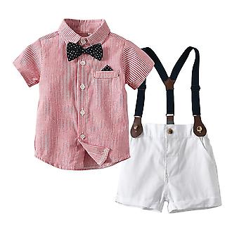 Baby Clothes Set Summer Suit For Toddler White Shirt With Bow Tie Suspender