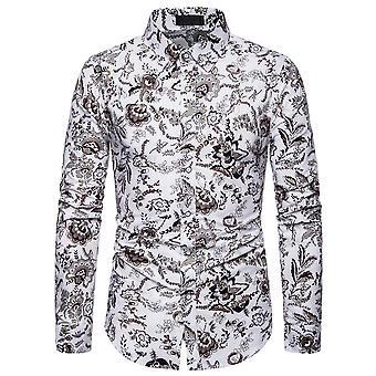 YANGFAN Mens Floral Print Long Sleeve Dress Shirt
