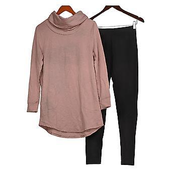 Carole Hochman Set French Terry Cowl Neck Tunic Legging Set Pink A381863