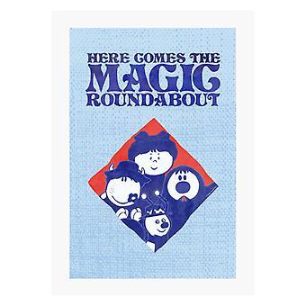 The Magic Roundabout Retro Blue Tone Diamond A4 Print