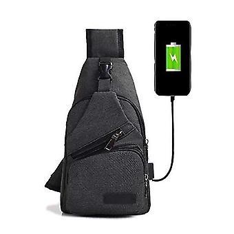 Male Shoulder Usb Charging Crossbody Bags - Men Anti Theft Chest Bag