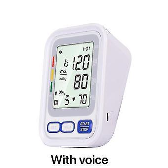 Varm hemsjukvård digital lcd överarm blodtryck monitor hjärtslag meter maskin tonometer för mätning automatisk