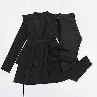 Whole Black Ruffle Plus Size Muslim Swimwear Burkini