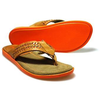 Red Tape Coe Men's Tan Leather and Orange Sandal