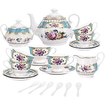 HanFei 15 stecken Englisch Trkis Porzellan Tee Sets, Vintage Rose Blumen Keramik Kaffee Set, Hochzeit Tee