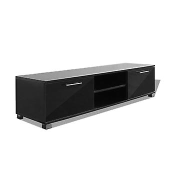 Stand TV Cabinet with Storage Compartment, Entertainment Unit Black High Gloss for Living Room
