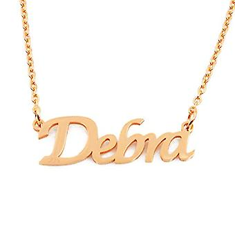 """L Debra - 18-carat gold-plated necklace, with customizable name, adjustable chain of 16""""- 19"""