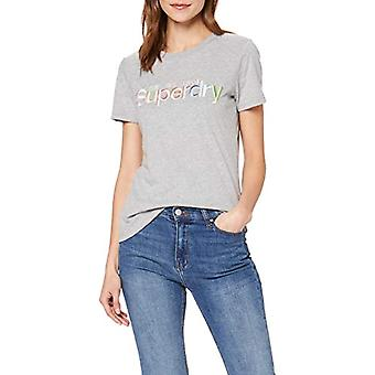 Superdry Classic Rainbow EMB Entry Tee T-Shirt, Grey (Grey Marl 07q), XXS (Size Manufacturer:6) Woman
