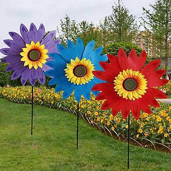 Double Layer Sunflower Windmill, Spinner Kids, Yard Garden Decoration