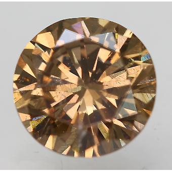 Cert 0.65 Carat Vivid Brown VS1 Round Brilliant Enhanced Natural Diamond 5.59mm