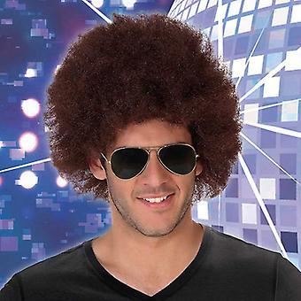 Kiharat hiukset Peruukki Afro Ruskea 113770